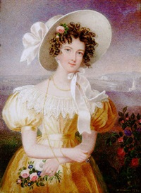 a pretty young lady wearing yellow dress with white lace collar by william hudson