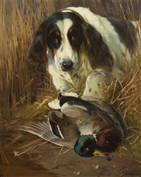 hunting dog with game by william woodhouse