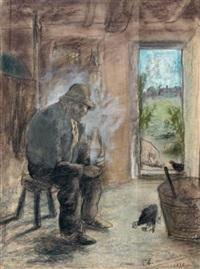 la pause du paysan by charles edmond theodore milcendeau