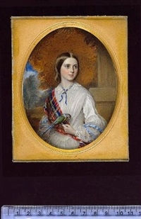 a young lady wearing white dress with lace collar, blue ribbon with jewelled slide at her throat, pale blue ribbons across her puffed sleeves and tartan sash, she holds a parrot by reginald easton