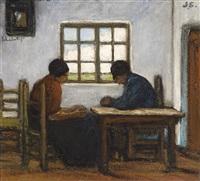 intérieur campinois avec fermier et fermière by jacobs (jakob) smits