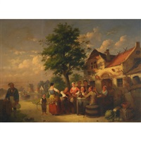 village merrymakers outside a dutch tavern by johann mongels culverhouse