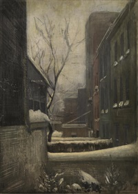dalla finestra dello studio di new york, nevicata by pietro annigoni