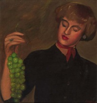 woman with grapes by simeon buchbinder