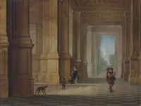 an italian loggia with elegant figures and a dog by dirck van delen