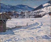 winter landscape by arnold borisovich lakhovsky
