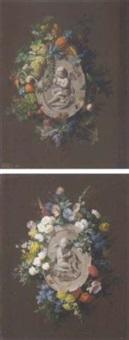 un trompe-l'oeil avec un bas-relief d'un putti tenant un arc, entouré de fruits by jean marie reignier