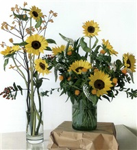 two flower vases with sunflowers by peter von artens