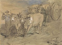 a man leading oxen drawing a wagon by théodore chassériau