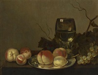 still life with fruit and wine by bartholomeus assteyn