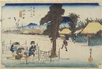 minakuchi traversée du village avec femmes travaillant des gourdes, oban yoko-e (from 53 stations du tokaido) by ando hiroshige