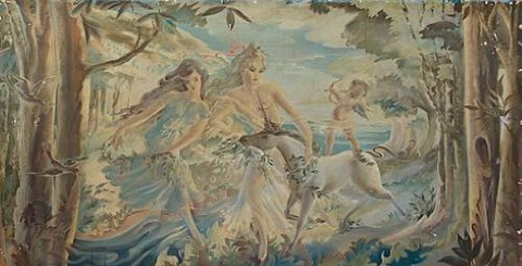 a pair of fantasy panels from on board the rms caronia by beatrice macdermot