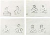 equipe de jeunes hommes (set of 4) by tobias rehberger