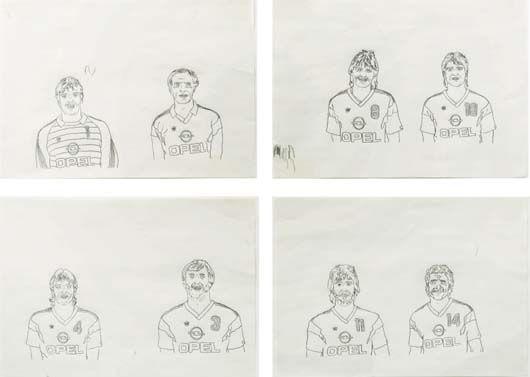 equipe de jeunes hommes set of 4 by tobias rehberger
