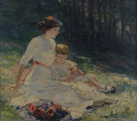 untitled seated mother and child in a meadow by catherine wiley