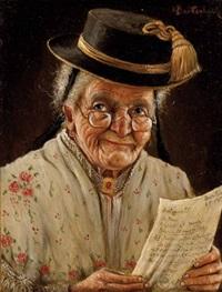 bildnis einer bäuerin mit einem datierten brief vom amtsgericht by hans barttenbach
