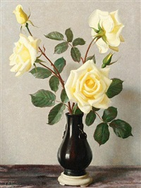 yellow roses in a black jug by john bulloch souter