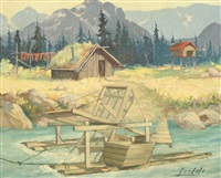 river cabin with a fish wheel in the water by harvey goodale
