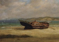 wreck on poquot beach, port jefferson harbor by william moore davis