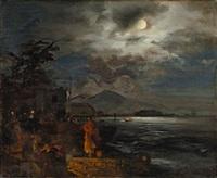 italienische küste bei nacht by oswald achenbach