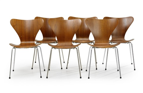 sjuan stolar set of 6 by arne jacobsen