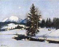 winterliche berglandschaft by ludwig von senger
