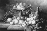 still life of fruit, flagon and rug on a marble ledge by jean laurent