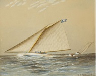 a racing yacht on great south bay by james edward buttersworth