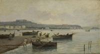 napoli, pescatori a riva con reti a mergellina by radames scoppa