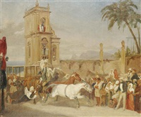 wild horses rearing at the start of a race in a mexican plaza by johann moritz rugendas