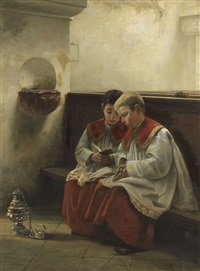 ministranten beim gebet by felix friedrich von ende