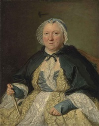 portrait of madame antoine crozat, marquise du châtel, née marguerite le gendre d'armeny (1670-1742) seated, in a lace trimmed yellow and white dress... by jacques andré joseph aved