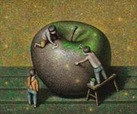 刷绿漆的苹果 by liu hongwei