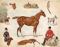 sans titre (sur le thème du cheval)(set of 7) by ernest alexandre bodoy