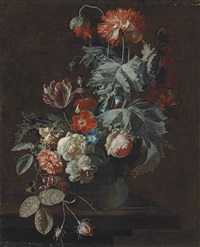 carnations, tulips, roses, morning glory and other flowers in a glass vase, on a stone ledge by simon pietersz verelst