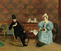 an elegant couple in an interior by emile mascré
