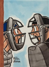 baseball catcher and umpire arguing by peter arno