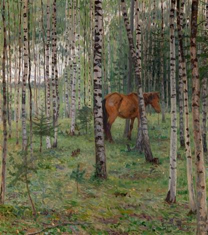 horse in a birch grove by nikolai petrovich bogdanov belsky
