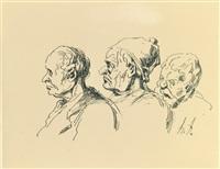trois têtes d'hommes by honoré daumier
