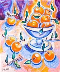 orange fruit in a stemmed bowl by campbell smith