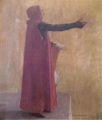 le poète vainqueur du voilier d'or (capitole de toulouse)(study) by jean paul laurens