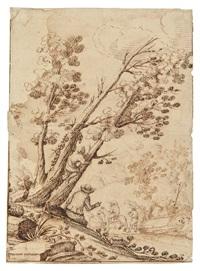 paesaggio con figure by remigio cantagallina