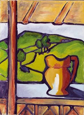 terrasse mit blick auf hügellandschaft by hans zern