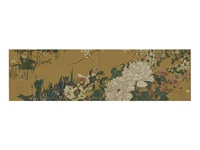 a fusuma-e, peony two-fold screen by sekisai