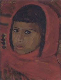 fillette marocaine en rouge by georges andre klein