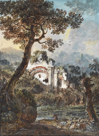 landschaft mit ruinen und teich by balthasar anton dunker