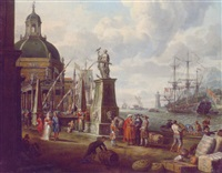 a capriccio of a mediterranean harbour with merchants, an elegant couple on the quayside, before a statue of hope and a baroque church by adriaen verdoel