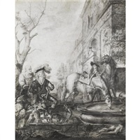a hawking party watering their horses in front of a house by peeter (pieter) rottermondt