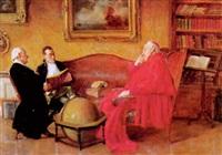 kardinal und zwei herren im salon by hans kratzer