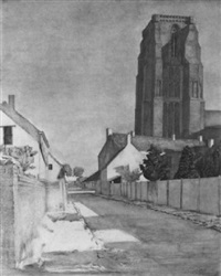 kirche in lissewege i mit dorfstrasse by peter foerster